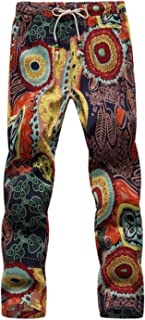 Zhi Fan Men's Drawstring Flower Up to Large Size 6XL Multi-Pattern Pants