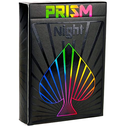 Premium Playing Cards, Deck of Cards, Cool Prism Gloss Ink, Great Poker Cards, Unique Bright Rainbow & Red Colors for Kids & Adults, Black Playing Cards Games