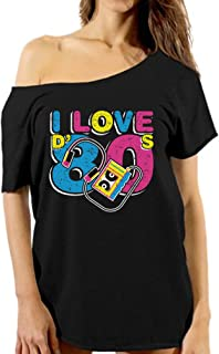 Vizor Women's I Love The 80's Off Shoulder T Shirts Tops 80s Party 80s Costume 80s Disco