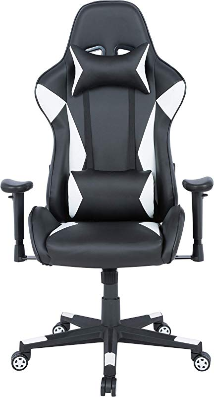 AmazonBasics BIFMA Certified Gaming Racing Style Office Chair With Removable Headrest And Lower Back Cushion White