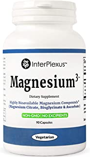 Magnesium³ - Highly Bioavailable Magnesium Compounds (Magnesium Citrate, Bisglycinate & Ascorbate) - 90 Capsules