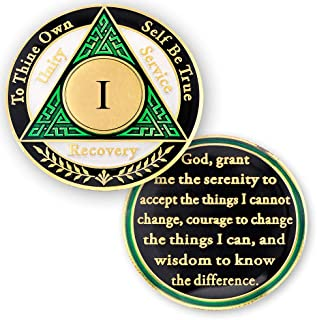 1 Year AA Medallions Coin - Alcoholics Anonymous Chips - One Year Coins - Green White Black Token