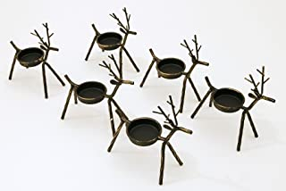 Reindeer Tea Light Holders Iron Rustic Finish Set of 6 by LTD Commodities