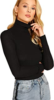 SweatyRocks Women's Casual Basic Solid Long Sleeve Tee High Neck Ribbed Knit Slim Fit Crop Top T Shirt