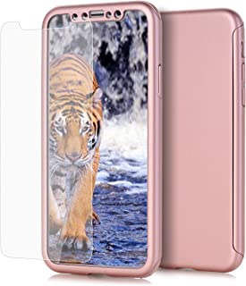 AOKER iPhone X Case, Ultra-thin Full Body Coverage Hard Plastic Matte [Tempered Glass Screen Protector] 360 All Round Shockproof Hybrid Cover Skin for Apple iPhone X 2017 Release (Rosegold)