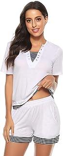 Tee Shirt et Short Femme Manches Courtes Ensembles Survêtement Sportswear Sweat Suit Zipper Casual Jogging Pyjama d'intéri...