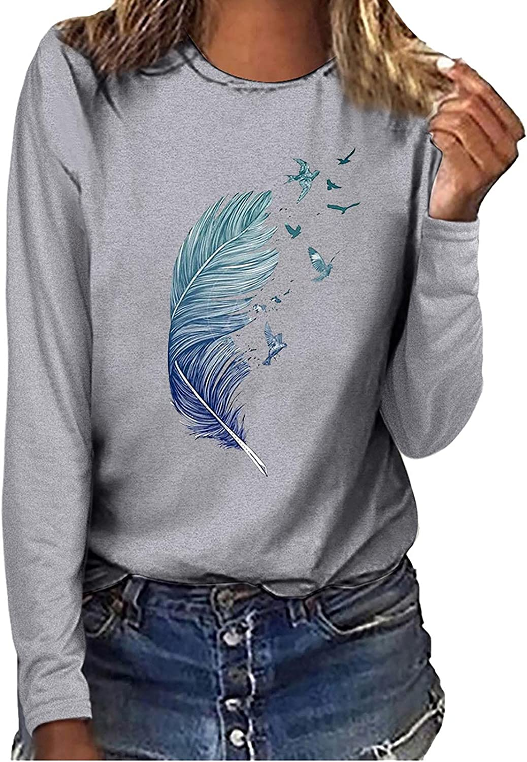 Tops for Women Casual Long Sleeve Graphics Printing Tee Tops Loose Blouse Pullover Tunic Tshirt Tops