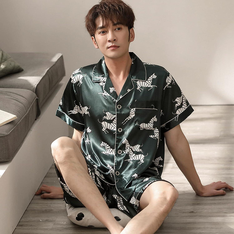 ML S HJDY New Spring Summer Men Faux Silk Pajamas Set Simple Leisure Nightwear Short Sleeves Sleepwear,A,XXL