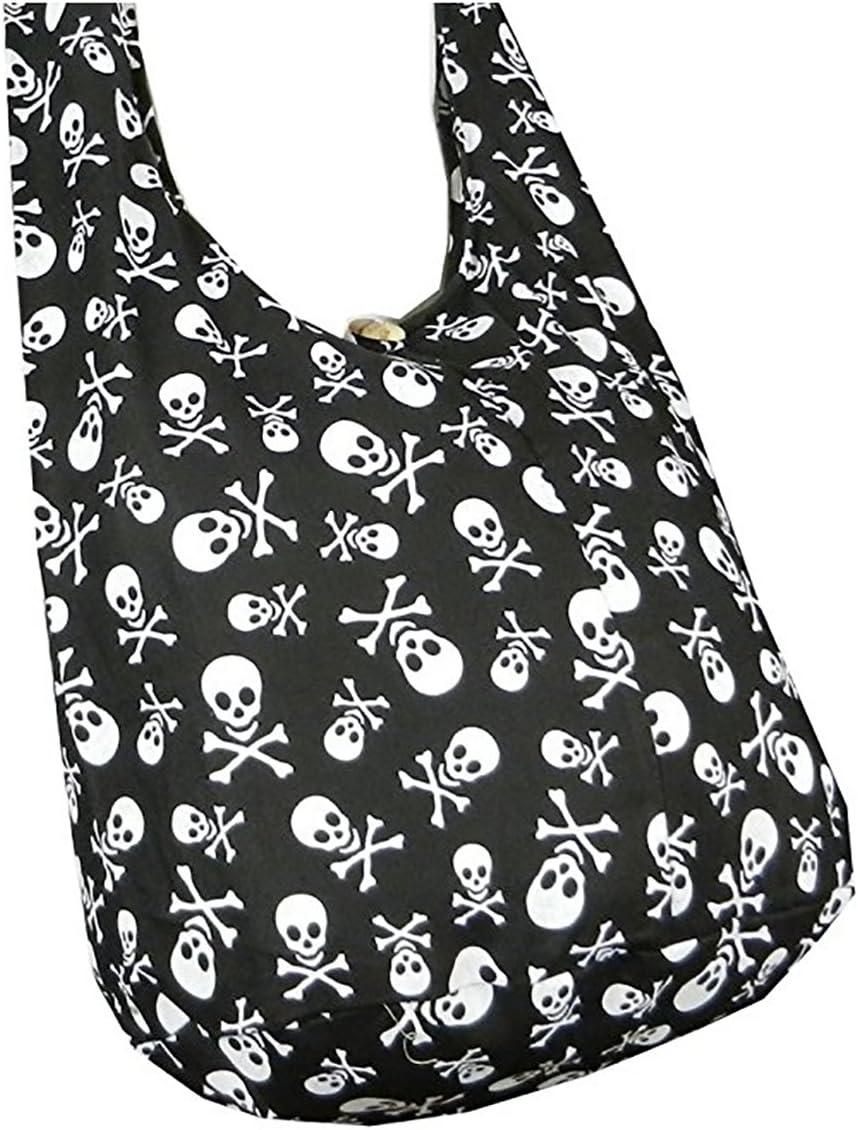 BTP! Skull Punk Rock Hippie Hobo Thai Cotton Sling Crossbody Bag Messenger Purse Small (Black)
