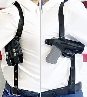 Aysesa Rig for Glock 19 Leather Shoulder Holster for Pistols 9mm 40 45 Concealed Carry Gun Fits: Glock G19 23 26 32 43 Sig Sauer p238 S&W 457 (Jet Black)