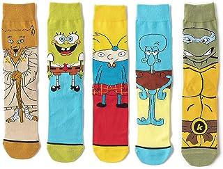 MIZZM, Calcetines coloridos y divertidos para hombres, novedad, calcetines de skate de dibujos animados geniales, 5 pares, paquete de calcetines de algodón informales