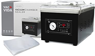 VAC-VIDA VS301 Chamber Vacuum Sealer   Constructed With A Sleek Black Stainless Steel Outside   Modern Control Panel   Ext...