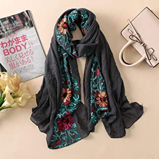Scarf Scarfs Women Embroidery Women Scarf Vintage Summer Pashmina Cotton Shawls and Wraps Lady Floral Bandana Female Hijab Winter Scarves (Color : Grey)