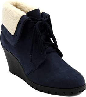 Womens New Rendon Lace-Up Boot Wedge Ankle Bootie with Fold Over Sherpa Fur Collar