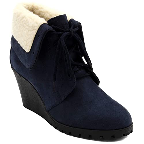 Nautica Womens New Rendon Lace-Up Boot Wedge Ankle Bootie with Fold Over Sherpa Fur