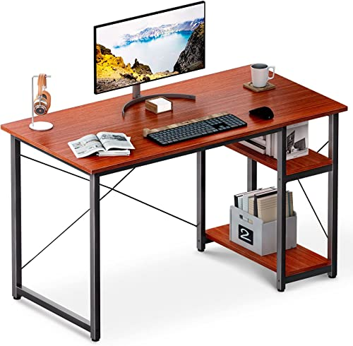 """wholesale ODK Computer Desk with Shelves, 39"""" Home new arrival Office Desk with Storage, 2 Tiers Shelves Small Study Writing Table, Modern Simple Style PC Desk, Stable Workstation, online sale Easy to Assemble, Teak online sale"""