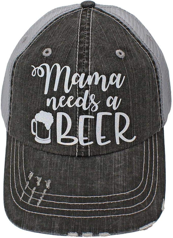 R2N fashions Mom Life Mama Needs a Beer Women's Trucker Hats & Caps Black Grey