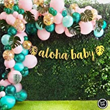Sweet Baby Co. Flamingo Tropical Jungle Baby Shower Decorations Balloon Garland Arch Kit with Pink Green Balloons, Aloha Baby, Leaf Greenery for Hawaiian Luau Theme, Havana Nights Party Decor Supplies