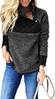 Famulily Women's Long Sleeve Asymmetrical Snap Neck Fleece Pullover Tops Sweater