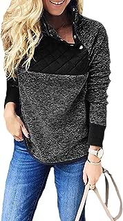 Women's Long Sleeve Asymmetrical Snap Neck Fleece Pullover Tops Sweater