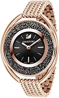 SWAROVSKI Crystal Authentic Crystalline Oval Watch, Metal Strap, Black, Rose Gold Tone - High Class Stone Studded Swiss Made Timepiece Jewelry and Everyday Accessory for Women