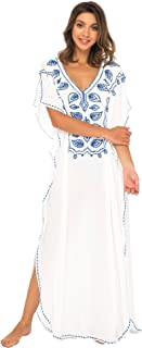 Womens Long Swimsuit Bathing Suit Cover Up Maxi Beach Dress Boho Embroidered Summer Dress Caftan