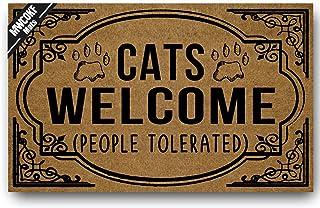 MWCOKF Funny Door Mat Entrance Floor Mat Cats Welcome People Tolerated | Outdoor Welcome Mat/Indoor Decorative Rubber Non-...