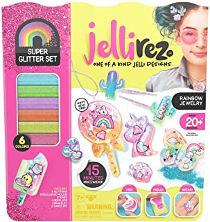 Jelli Rez Super Glitter Rainbow Pack - Quick & EasyDIY Resin Inspired Craft Activity Kit for Kids Ages 7 & Up, Multicolor ...