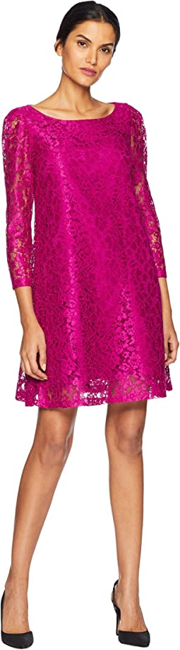 Long Sleeve Stretch Lace A-Line Dress