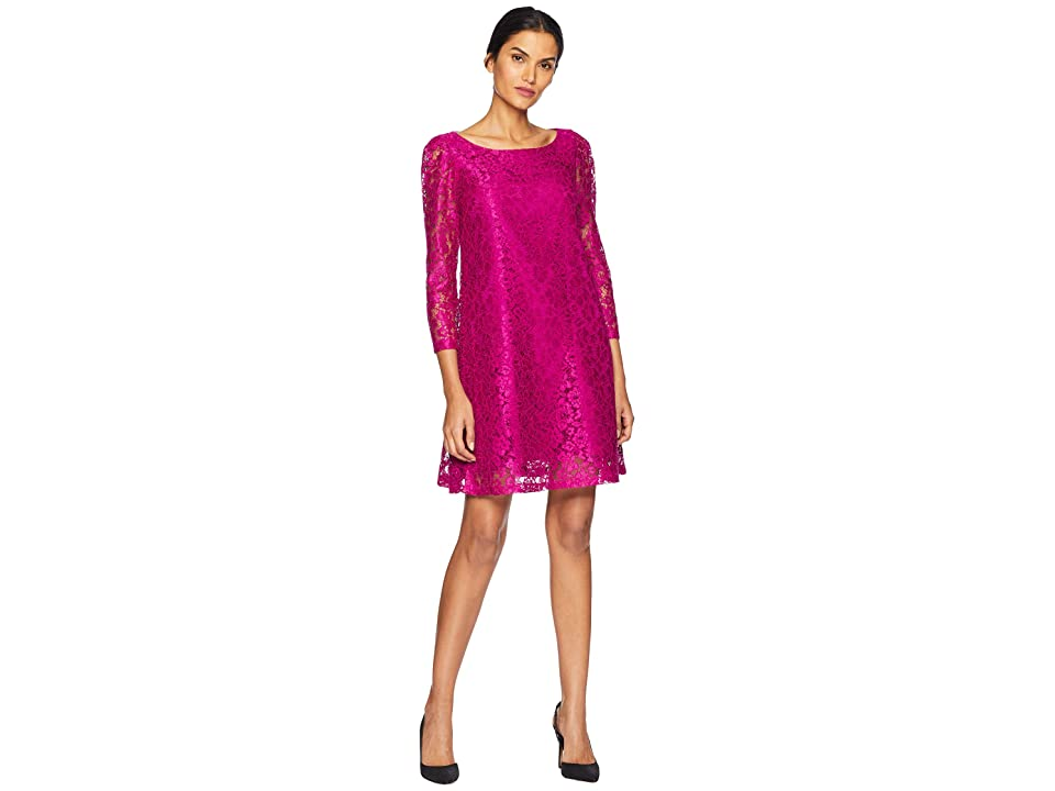 Tahari by ASL Long Sleeve Stretch Lace A-Line Dress (Fuchsia) Women