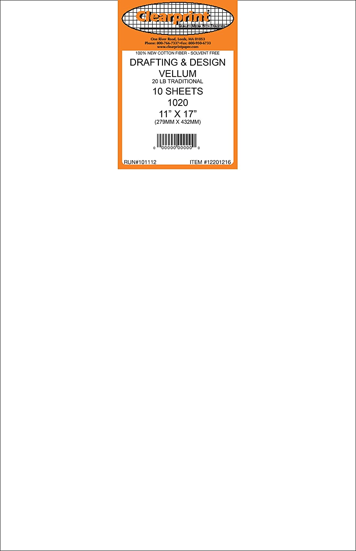 Clearprint 1020H Design Vellum Sheets, 20 lb, 100% Cotton, 11 x 17 Inches, 10 Sheets Per Pack, Translucent White, 1 Each (12201216)