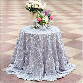 108Inches Round Silver Rosette Satin Round Tablecloth for Christmas Halloween Ghost Festival Decoration