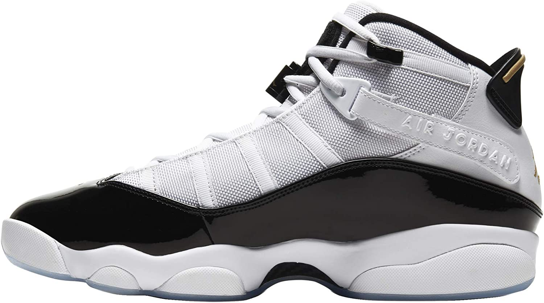cheap Jordan Air New popularity Men's 6 Rings Sneaker White Metallic Black Gold