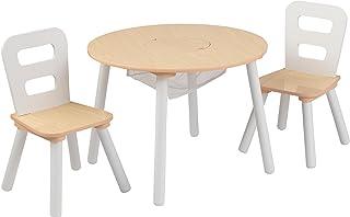 KidKraft 27027- Mesa de madera redonda natural y blanca con