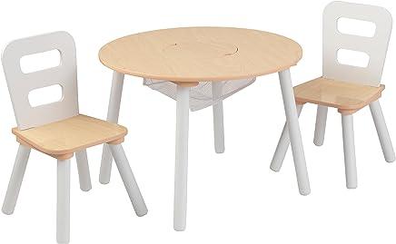 KidKraft Round Storage Table & 2 Chair Set,  White/Natural