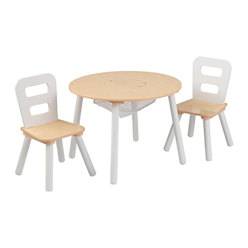 KidKraft 27027 Juego infantil de mesa redonda y 2 sillas de madera, muebles para salas