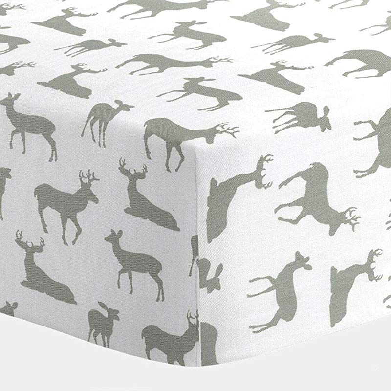 Carousel Designs White And Gray Deer Crib Sheet