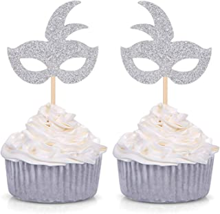 Silver Mardi Gras Mask Cupcake Toppers - Masquerade Birthday Bachelorette Party Fun Decorations 24 Counts