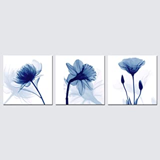 Wieco Art Blue Abstract Flowers 3 Panels Giclee Canvas Prints Wall Art Modern Pictures Artwork for Living Room Bedroom and Home Decorations P3RFL057-3030