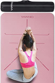YAWHO Yoga Mat Fitness Mat Eco Friendly Material SGS Certified Ingredients TPE Specifications 72'' x 26'' Thickness 1/4-In...
