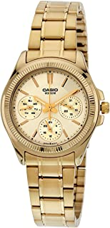 Casio Women's Gold Dial Stainless Steel Band Watch - LTP-2088G-9AVDF