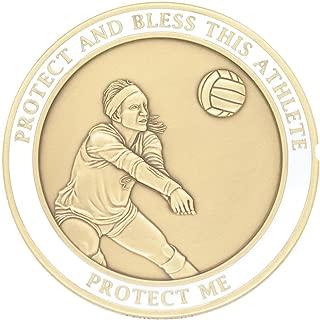 (15 5/18) VOLLEYBALL Medal Saint Sebastian Brass SEBANO Sports Good Luck Coin 1.7