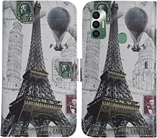 TienJueShi Eiffel Tower Fashion Stand TPU Silicone Book Stand Flip PU Leather Protector Phone Case For Tecno Spark 7 Pro ...