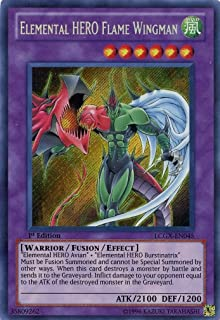 YuGiOh Legendary Collection 2 Single Card Elemental HERO Flame Wingman LCGX-EN045 Secret Rare