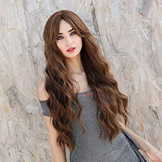 King Gift Long Wavy Wig Wiht Bangs Honey brown Wigs Middle Part Bangs wig Synthetic Wigs Middle Part Wavy Wigs Heat Resist...