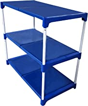 Dhani Creations Blue Plastic Steps and White Powder Coated Rods Multipurpose Utility Rack for Shoes, Clothes, Books -3 Step