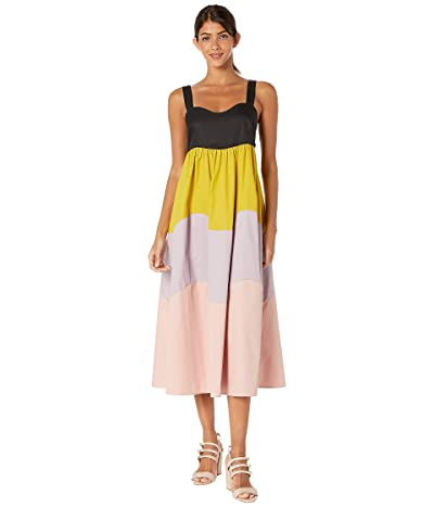 Kate Spade New York Scallop Blocked Midi Dress (Black Multi) Women