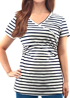 Women's V Neck Short Sleeve Comfy Layered Nursing Top and Shirts for Breastfeeding