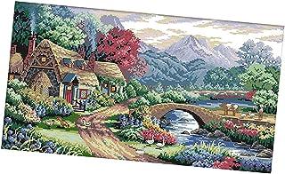 F Fityle Kreuzstich Stickerei DIY Handarbeit Stickpackung Set, Idyllische Villa, Stickbild Stickvorlage vorgedruckt Sticken Stickset Handwerk
