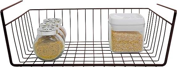 Smart Design Undershelf Storage Basket - Medium - Snug Fit Arms - Steel Metal Wire - Rust Resistant - Under Shelves, Cabin...